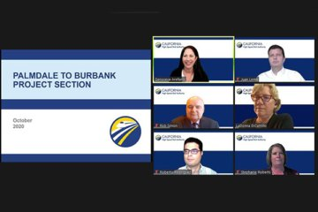 Screen shot of Palmdale to Burbank Project Section online meeting