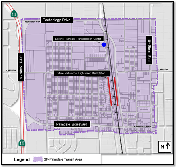 Map showing Palmdale transit area. Basically a square from State Route 14 east to 10th Street and Technology Drive south to Palmdale Boulevard.