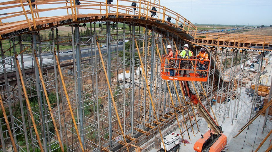 Construction crew works on the arches at the San Joaquin River Viaduct