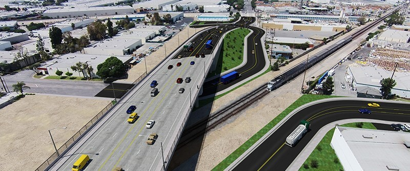 A rendering of the completed Rosecrans/Marquardt Grade Separation