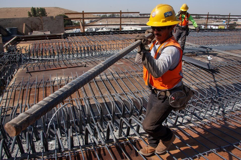 Construction worker with rebar in Central Valley