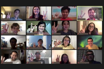 USC students flash big smiles and a victory salute on Zoom after a presentation from the California High-Speed Rail Authority