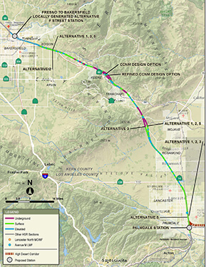 Portion of Bakersfield to Palmdale project section map