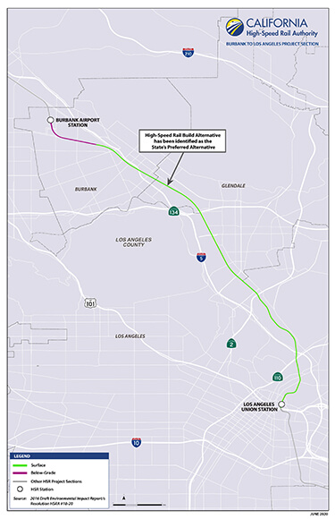 Portion of Burbank to Los Angeles project section map