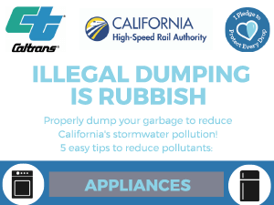 Illegal dumping is rubbish. Properly dump your garbage to reduce California's stormwater pollution! 5 easy tips to reduce pollutants