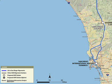 Map of Project Section for Los Angeles to San Diego