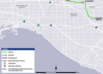 Portion of Los Angeles to Anaheim project section map