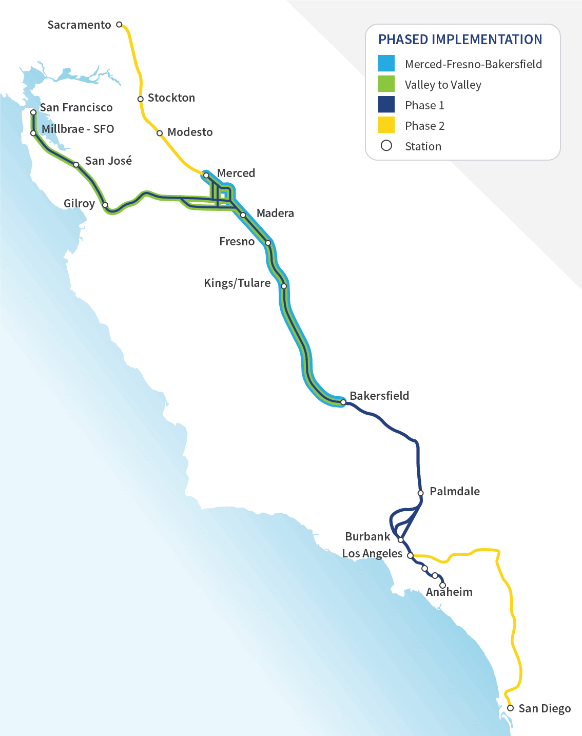 Map of California with each phase of construction highlighted.
