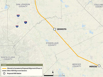 Map of Project Section Merced to Sacramento