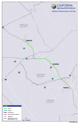 Map of Project Section Merced to Fresno
