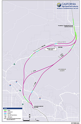 Portion of Palmdale to Burbank project section map