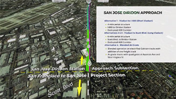 Screenshot of animated video of the San José to Merced project section