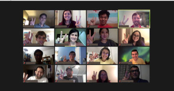 USC students flash big smiles and raise their two-finger salute on zoom after a presentation from the California High-Speed Rail Authority.