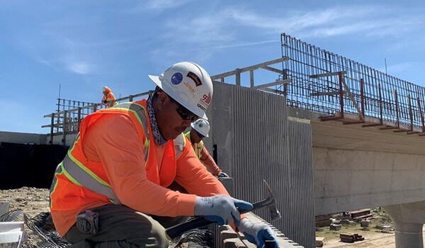 Construction worker at San Joaquin River Viaduct site