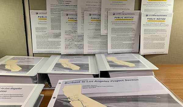 Stack of environmental documents for Burbank to Los Angeles Project Section