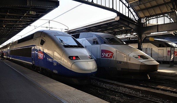 High-speed rail trains at station in France