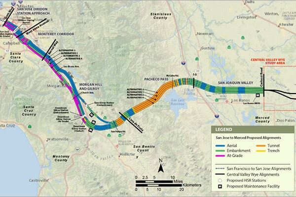 Map of San Jose to Merced project section