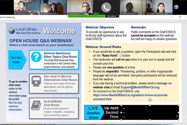 Screen view of online San Jose to Merced project section webinar