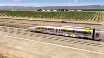 Close up of high-speed train in the Central Valley.