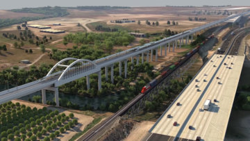 Rendering of the signature arches of the San Joaquin River Viaduct north of the city of Fresno.