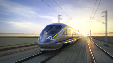 Dusk side view of high-speed train.