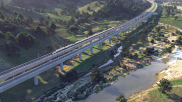 High-speed train in the Pacheco Pass.