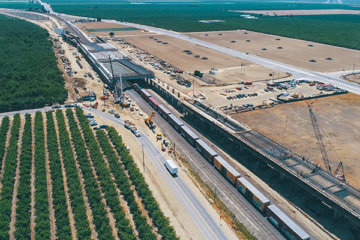aerial view of construction at the Wasco viaduct with fields on the sides
