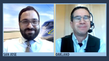 Boris Lipkin (San Jose), Northern California Regional Director for the California High-Speed Rail Authority, on video chat with Northern California Director of Projects Gary Kennerly (Oakland)