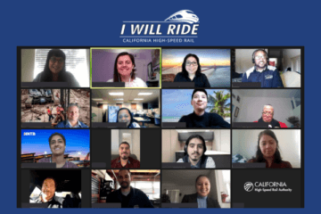 Screen shot of 15 participants during I Will Ride webinar, with I Will Ride California High-Speed Rail logo with train icon