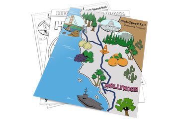 Activity sheets showing landmarks on a map of California for coloring