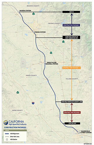 map of California Central Valley highlighting locations of high-speed rail construction packages