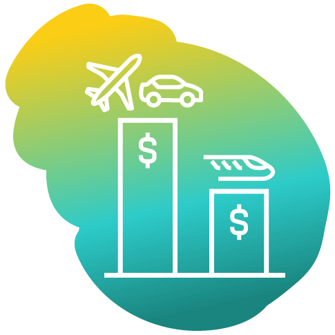 icon of two bar charts with dollar signs, left chart taller with airplane and car on top, right chart lower with high-speed train on top