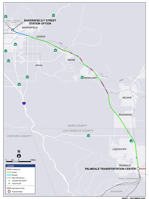 This is a map of  the Bakersfield to Palmdale section alignment  showing which parts are at grade, in a tunnel or elevated