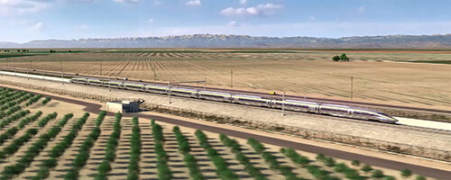 rendering of high-speed rail train on tracks in a valley