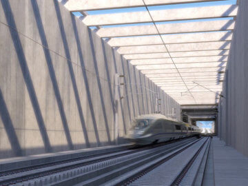 Rendering of high-speed rail train going through a trench