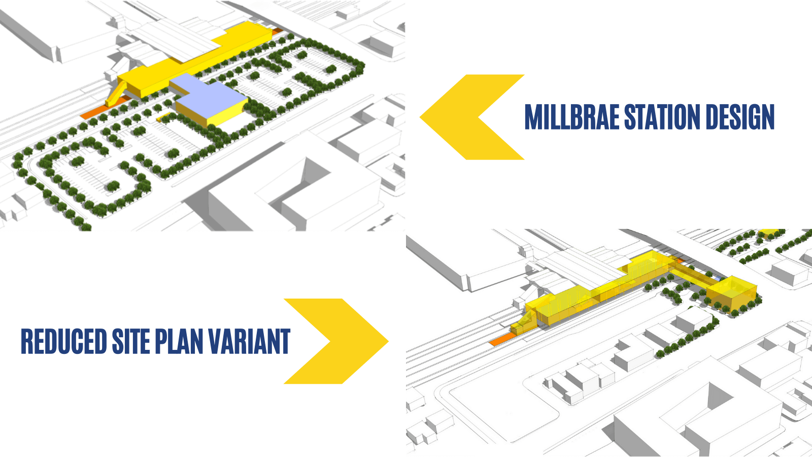 Two illustrations of Millbrae Station