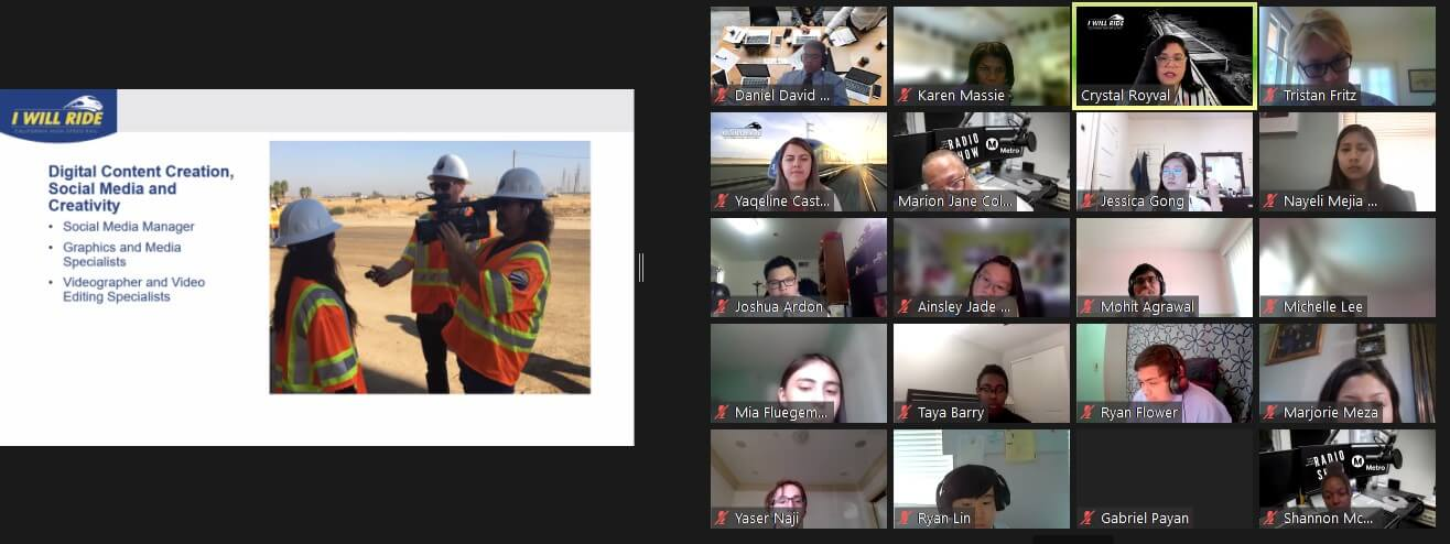 Screen shot of I Will Ride PowerPoint presentation next to 20 participants on Zoom meeting