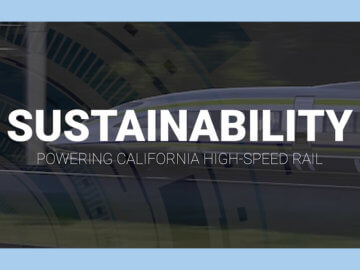 Sustainability, Powering California High-Speed Rail, rendering of high-speed train in background