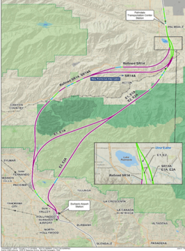 Palmdale to Burbank Project Section map