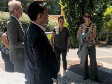 California State Senator Lena Gonzales and Assemblymembers Laura Friedman and David Chiu tour the rooftop park at Salesforce Transit Center.